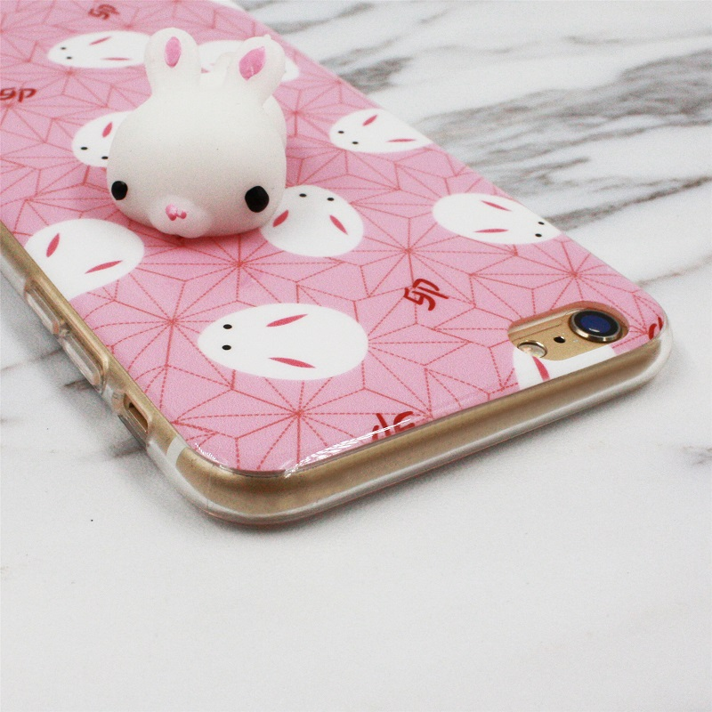 low priced d5d1e 1c597 US $3.71 |New Arrival Fashion Squishy Rabbit Phone Cases Shell For iPhone 7  Cute Cartoon Soft TPU 3D Lovely Women Girly Pink Back Cover-in Fitted ...