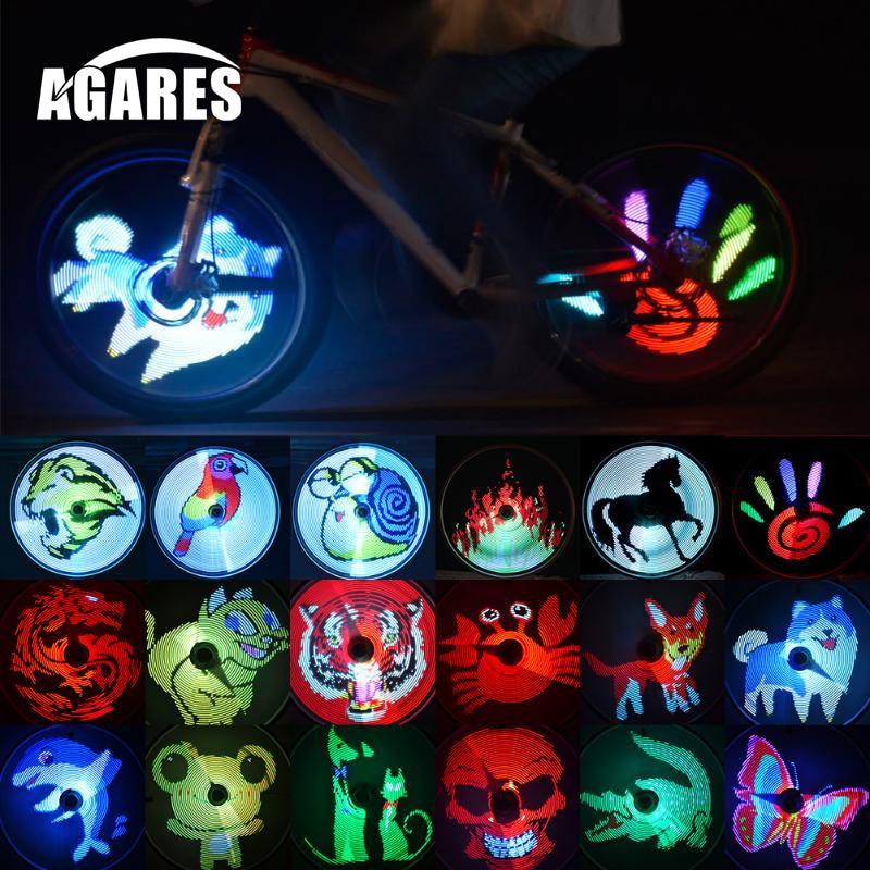 DIY Bicycle Light Programmable Bicycle Spoke Wheel Lights 64 Colorful LED Lamp Waterproof Spoke Night Cycling Lights
