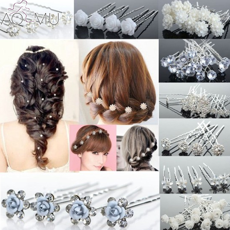 AOMU Bridal-Hair-Pins Hair Jewelry Flower Crystal Pearl Wedding Fake Women for 20pcs/Lot