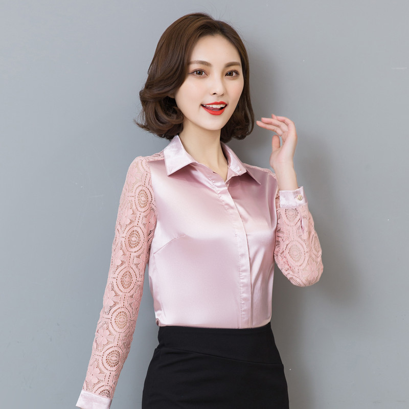 2016 הגעה חדשים מכירה חמה אביב חולצת האופנה נשים שרוול הארוך חולצת משי תחרה נשי חולצת סלים מקרית פלוס גודל 103D 25