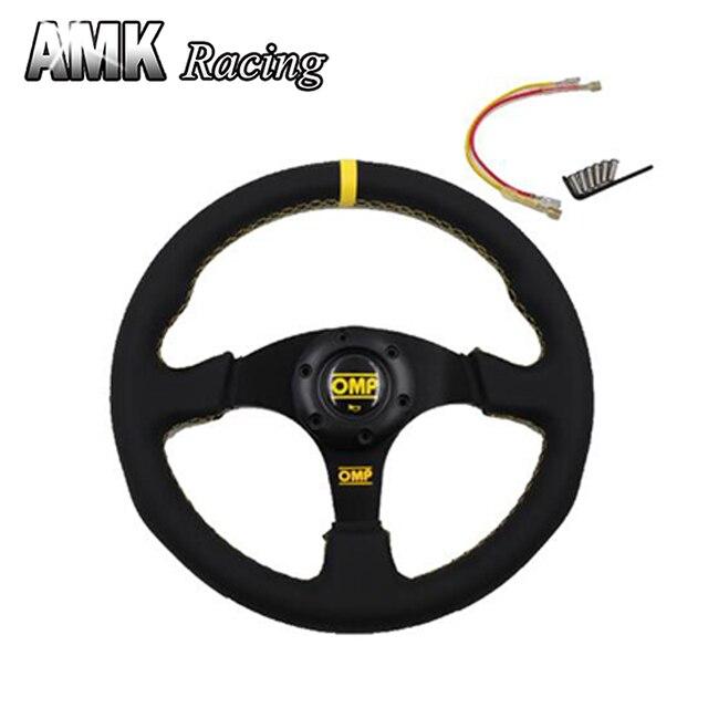AMK de carreras de Alta calidad de 13 Pulgadas Volante OMP Plana Con Franja Amarilla 13 ''Coche de Cuero Real rueda