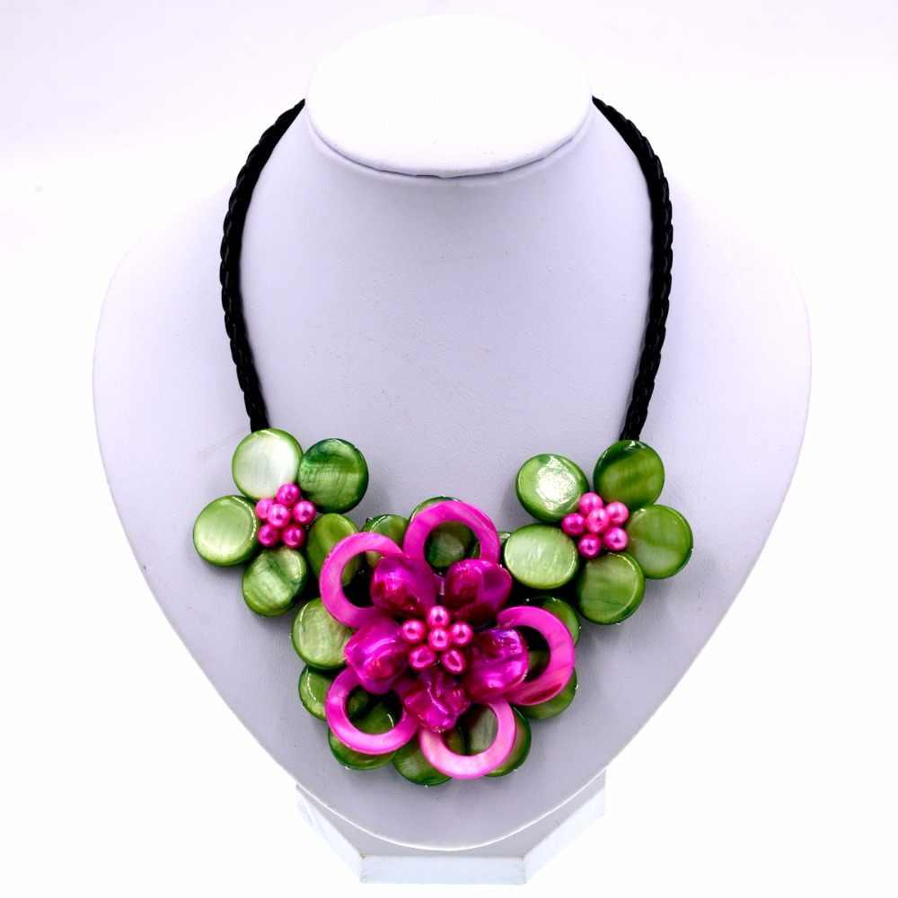 Thời trang mẹ của ngọc trai Màu Xanh Lá Cây màu hồng Nóng lau vỏ ngọc trai hoa vòng cổ