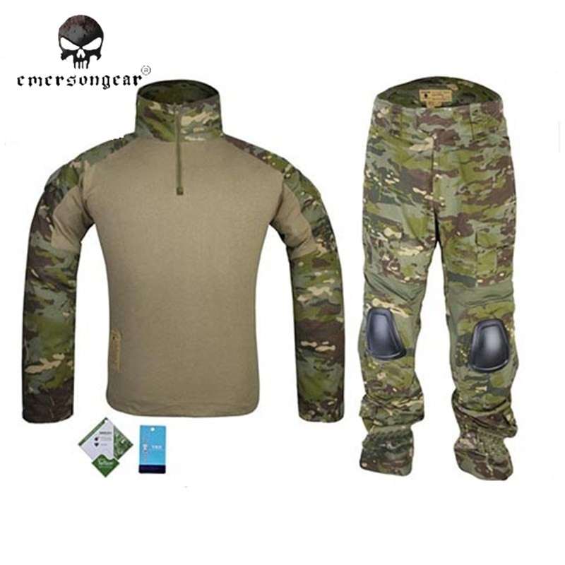 Emerson Tactical Camouflage Military Uniform Clothes Suit Men Army Hunting Combat Jersey Shirt + Pants Knee Pads Hiking Garment military uniform multicam army combat shirt uniform tactical pants with knee pads camouflage suit hunting clothes