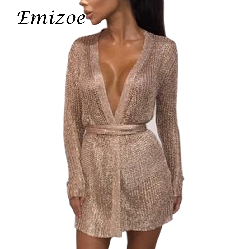 Emizoe sexy party club v neck bow knitted dress women very short mini party dress long sleeve bodycon cardigan dress