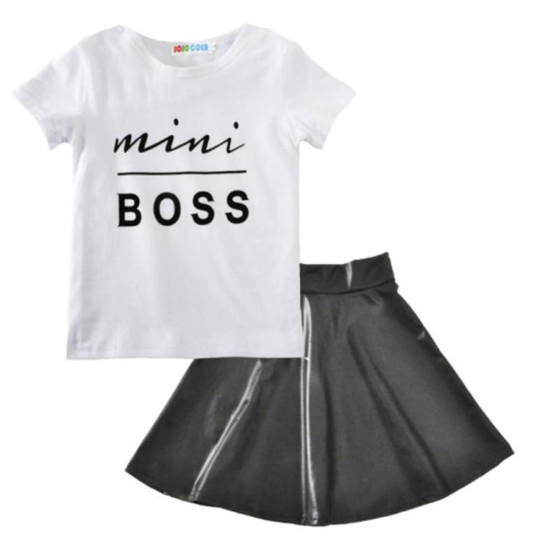 Fasshion mädchen kleidung Mini boss muster baby kind mädchen kleid ...