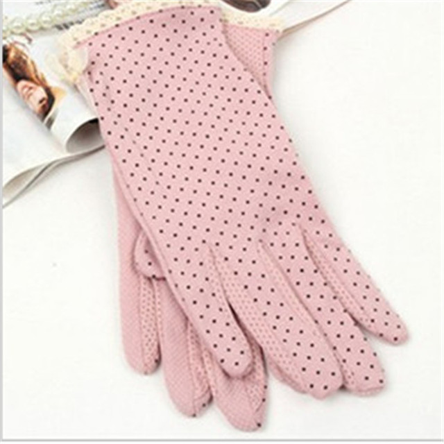 KLV 1 Pair Elegant Women's Driving Slip-resistant Sunscreen Cotton Gloves Fashion Dot Lace Female Sun Protection Non-slip Glove 4