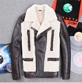 2015 Korean version New winter Men's fur one Slim leather motorcycle Fur jacket JSH565