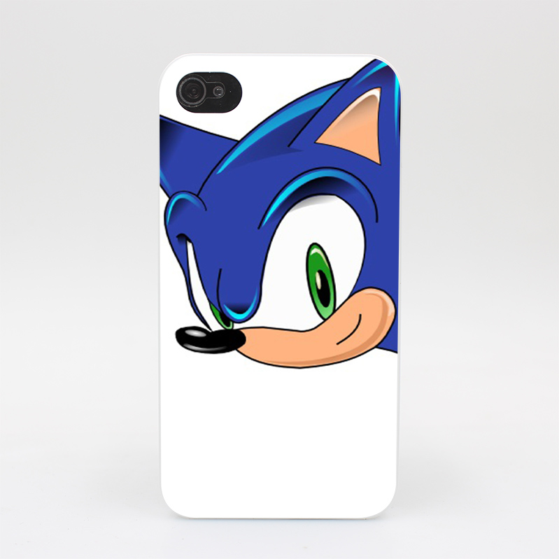 1213HY Sonic Head Hard White Case Cover for iPhone 4 4s 5 5s 5c SE 6 6s Plus Print