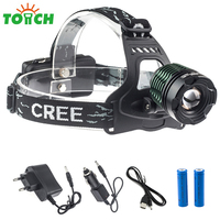 Cree xml T6 Stirnlampe Led Tactical Head Lights Waterproof Camping Fishing Cap Torch Zoomable Focus Đèn Pha Đèn với 18650 Pin