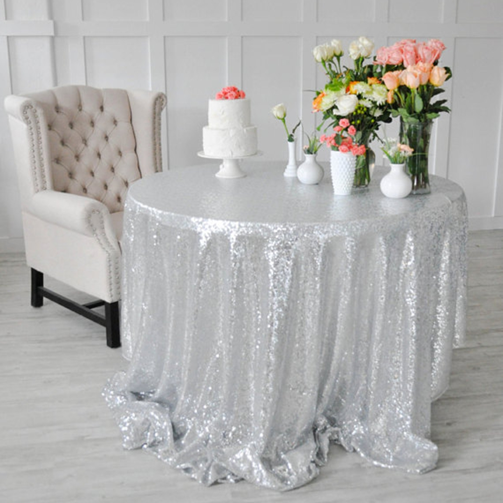 Luxury Sparkle Sequin Table Runner Glitter Silver Sequin Tablecloth For  Wedding Party Home Table Decoration 156u0027u0027 Round