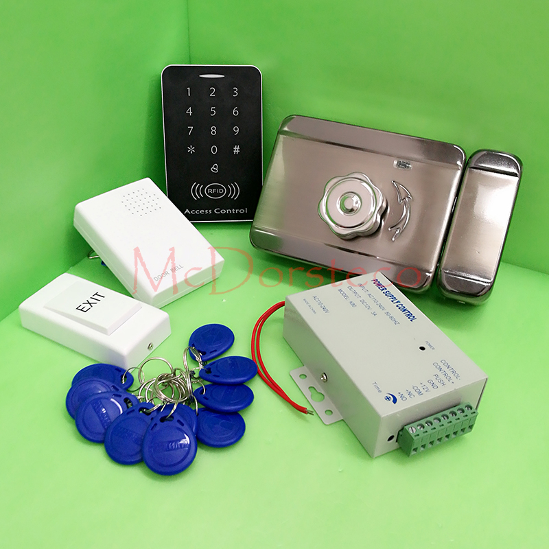 DIY Full 125khz rfid Card door Access Control Kit +Electric rim lock+ 12V3A Power Supply Press Keypad Door Access Control System diysecur magnetic lock door lock 125khz rfid password keypad access control system security kit for home office