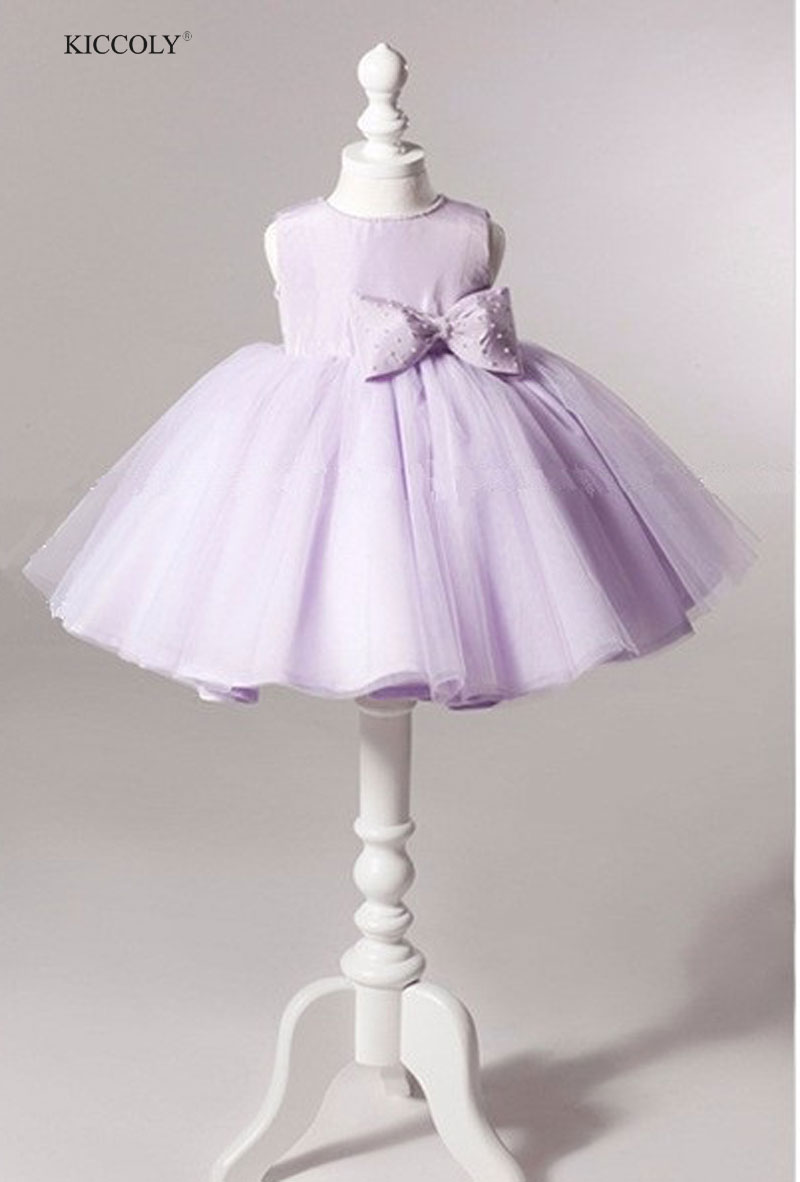 Violet Wedding Gowns Kids Formal Party Christening Communion Flower Girl Dresses Infant Pageant Dress for Little Girl 1-11 Years