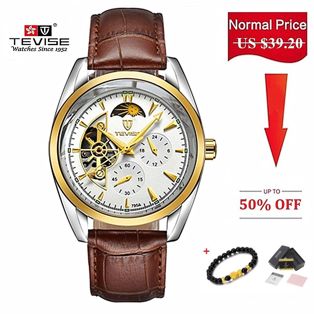 Brand TEVISE Original Men Watch Automatic Mechanical Waterproof Luxury Clock Leather Wristwatches Relogio Masculino