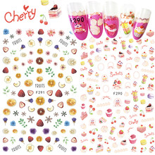1pcs Nail Art Sticker Adhesive 3D Colorful Tips Fruit Strawberry Pineapple Cute Nail Sticker Decal Cake Manicure SAF285-294(China)