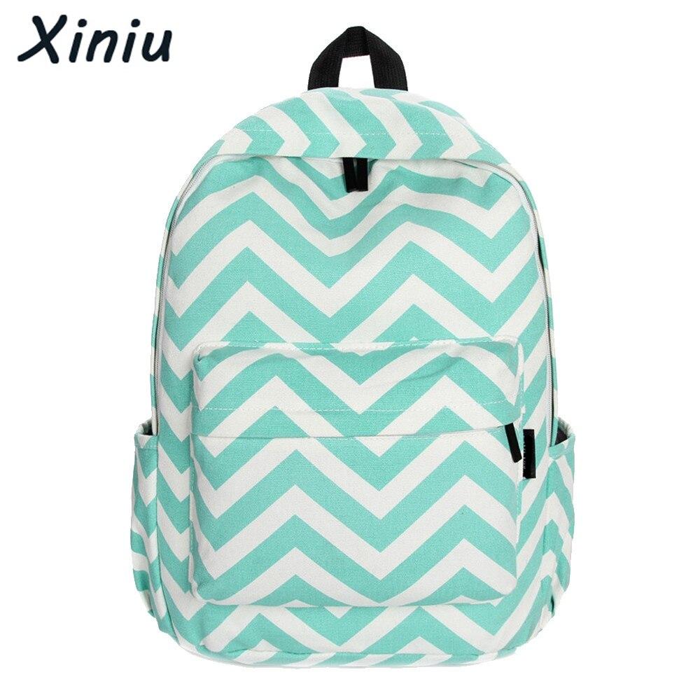 XINIU Brand Women Canvas Sweet Stripe Backpack Fashion Mochila For Teenage Girls School Bags Cute Travel Rucksack Back Pack