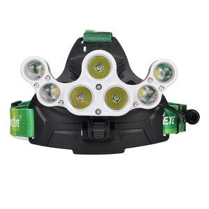 Image 5 - Ajustável 50000 lm xm l t6 7x led farol ultra brilhante 18650 bateria caça pesca tocha + cabo usb + 3x18650 bateria
