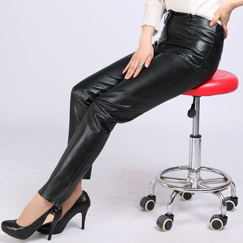 Autumn Genuine Leather Pencil Pants Lady Office Work Large Size 4XL Goatskin Natural Leather Trousers Women Black Pants Fashion