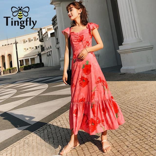 Tingfly Sash neck floral print long dress Women off shoulder ruffles summer  dress reformation casual boho midi dress vestidos 564498eb8773