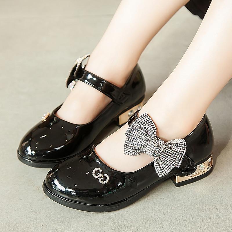 JGSHOWKITO Shoes Heels Rhinestone Party Girls Princess Kids Children Patent for Big Bow-Knot