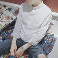 Весной 2017 Корейский белье белая рубашка мужчины с длинными рукавами тонкий воротник Японский ретро повседневная рубашка хлопок бэк