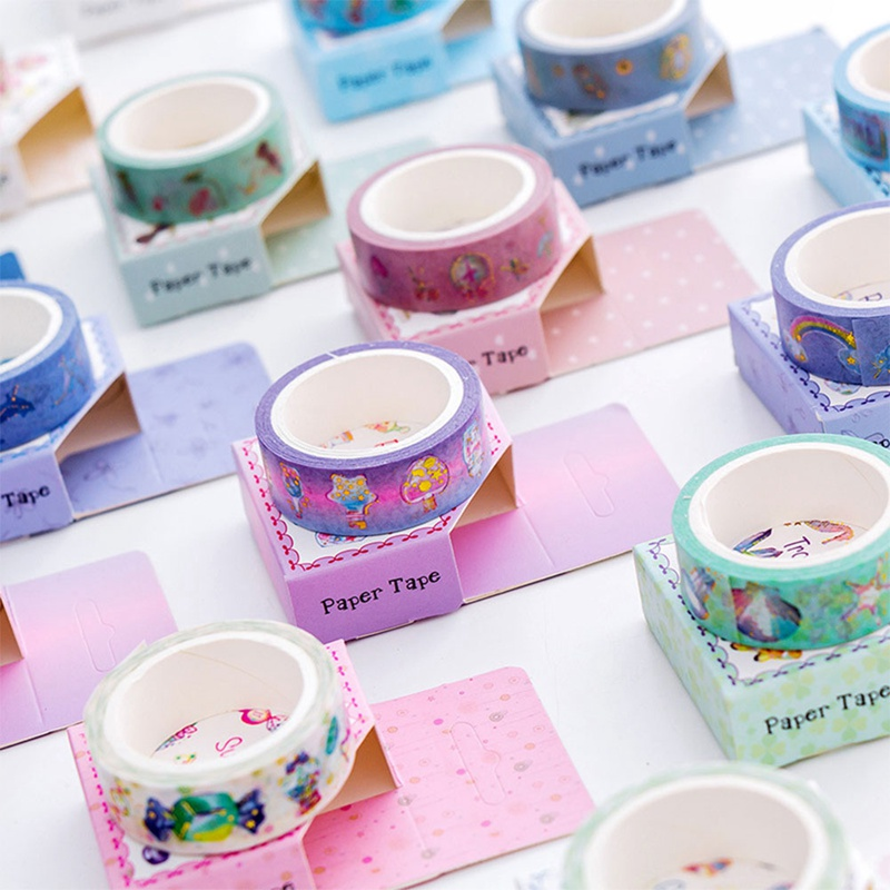 1.5cm*5m Cute Unicorn Washi Tape Adhesive Tape Diy Scrapbooking Sticker Label Masking Tape Stationary Color Random Ideal Gift For All Occasions Tapes, Adhesives & Fasteners Office Adhesive Tape