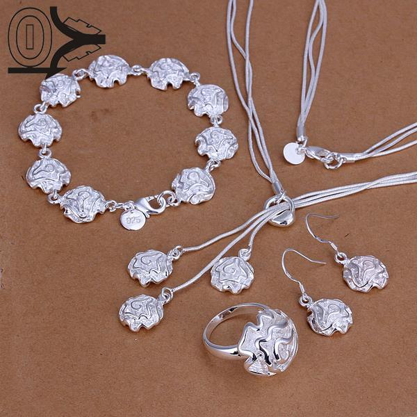 Earring-Ring Four-Piece Jewelry-Set Necklace Bracelet Flower Bridal-Party-Sets Silver-Plated