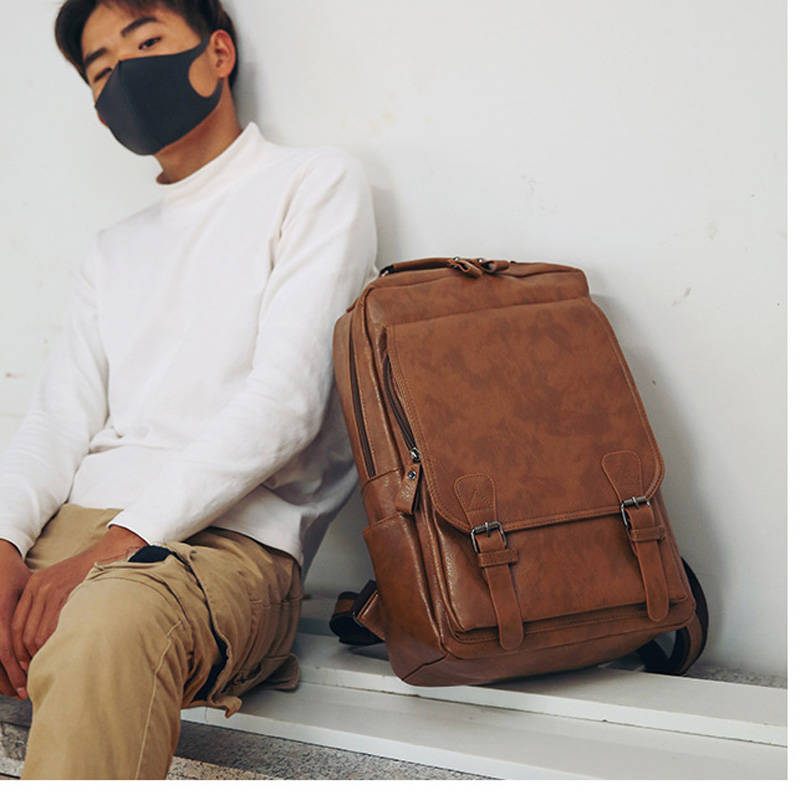 7f9a4b252342 US $18.5 32% OFF|Vintage Men Backpack Waterproof Khaki PU Leather Travel  Bag Man Big Capacity Male Mochila Laptop Bag Teenager Backpacks-in  Backpacks ...