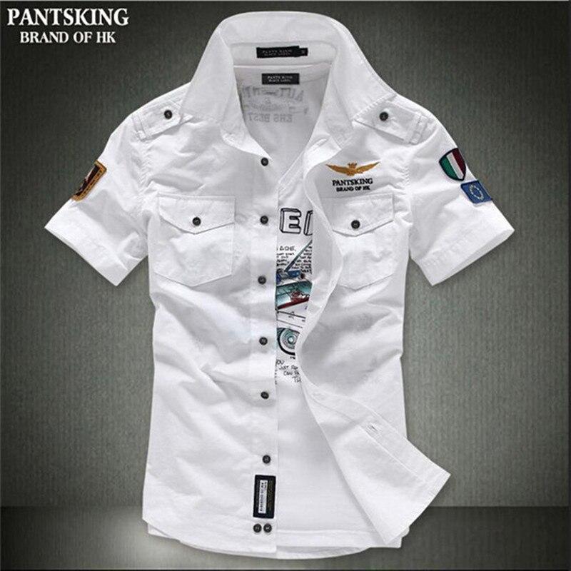 Gewissenhaft Heißer 2017 Neue Herren Kurzarm Shirts Beiläufige Dünne Mode Königlichen Stickerei Männer-shirt Wir Haben Lob Von Kunden Gewonnen