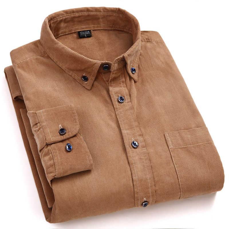Warna Khaki 100% Katun Corduroy Kualitas Tinggi Merek Button Down ...