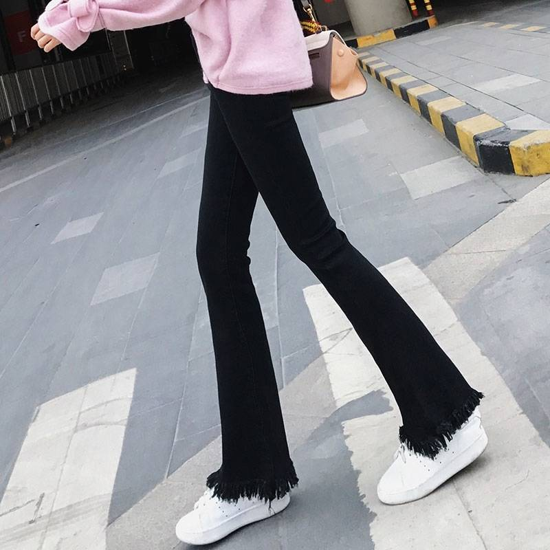 2019 Spring Summer Slim   Jeans   For Women Skinny High Waist   Jeans   Blue Denim Pencil Pants Stretch Flared Pants Plus Size