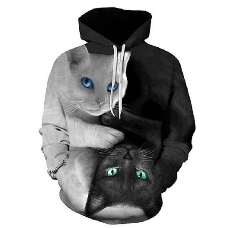 Black White Cats 3D Hoodie Hoodies Men Women 2018 Long Sleeve Sportswear Tracksuit Poleron Hombre Casual Hooded Sweatshirts