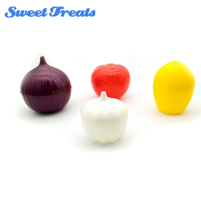 4 Pack Fruit Vegetable Storage Containers Onion Lemon Tomato and