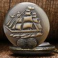 Горячая Стимпанк Карманные Часы Бронзовый Парусная Лодка Корабль Ожерелья Цепи Кварцевые Fob Часы Подарок для Женщины Мужчины Бесплатная Доставка