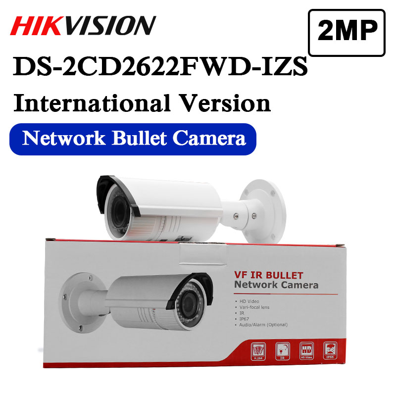 DS-2CD2622FWD-IZS Hikvision English Version 2MP WDR Vari-focal Bullet IP Camera POE security IR Onvif Outdoor Audio CCTV Camera image