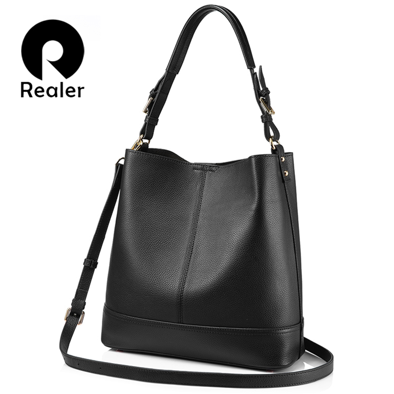 REALER 2 Pcs/Set genuine leather handbags women shoulder messenger bag female large bucket bags high quality crossbody tote new chispaulo women genuine leather handbags cowhide patent famous brands designer handbags high quality tote bag bolsa tassel c165