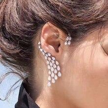 Hiневесты роскошный дизайн прозрачный кубический циркон капли воды ухо манжеты для женщин клип серьги один кусок E-407