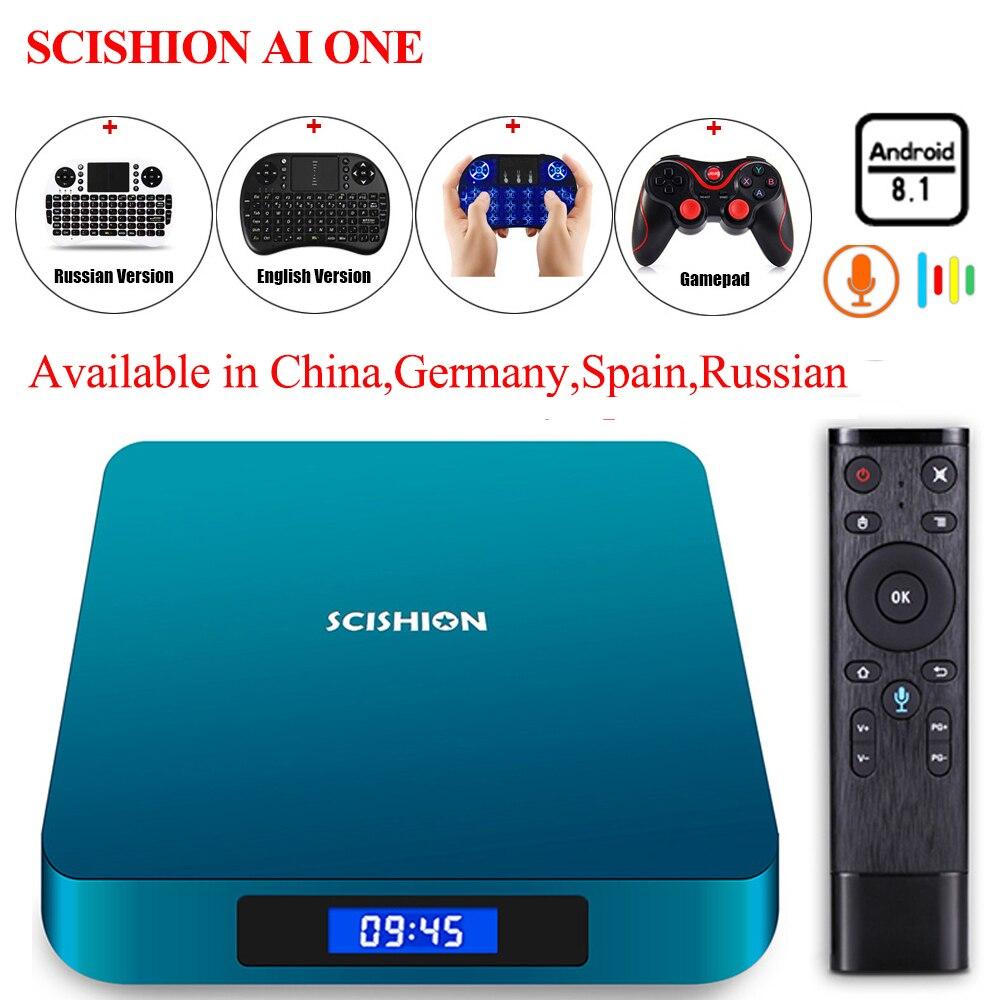 SCISHION AI ONE Android 8.1 Smart TV Box with Voice Control Rockchip 3328 2G 16G 4GB 32GB WiFi Set Top Box Bluetooth Set-top Box цены онлайн