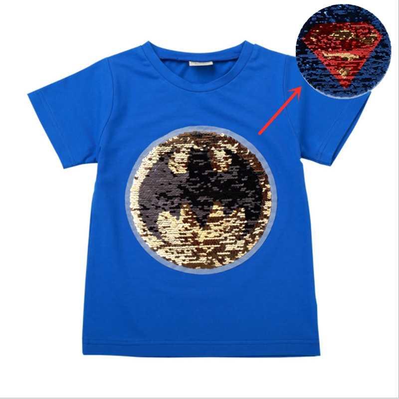 Cool changement couleur magique décoloration batman changement superman garçon T shirts sequin paillettes t shirt hauts garçons t shirt pour cadeaux