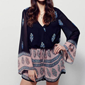 Summer Flare Long Sleeve Casual Loose rompers womens jumpsuits V-neck playsuit combinaison short femme LJPZ8196