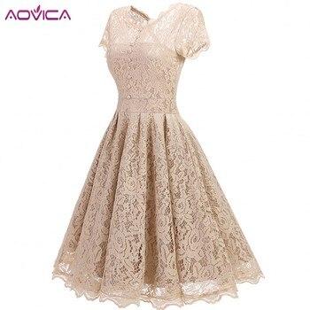 Aovica-vestido plisado encaje de mujer, vestido de verano 2018 Vintage con cuello redondo, Sexy, Pin up y Rockabilly, Vestidos de fiesta de encaje negro