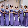 2017 Africa Style Purple Lace Mermaid Off Shoulders Bridesmaid Dress Plus Size Custom Made Backless Wedding Guest Dresses  BD208
