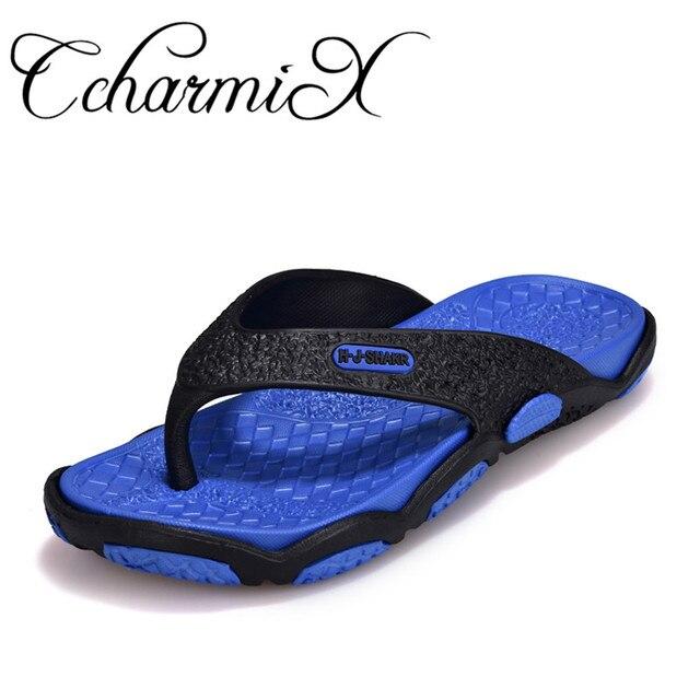 Ccharmix Для мужчин S Сланцы Лето Для Мужчин's Новый стиль резиновая Мягкая обувь пляжные Мужские тапочки массаж Для мужчин обувь 2018
