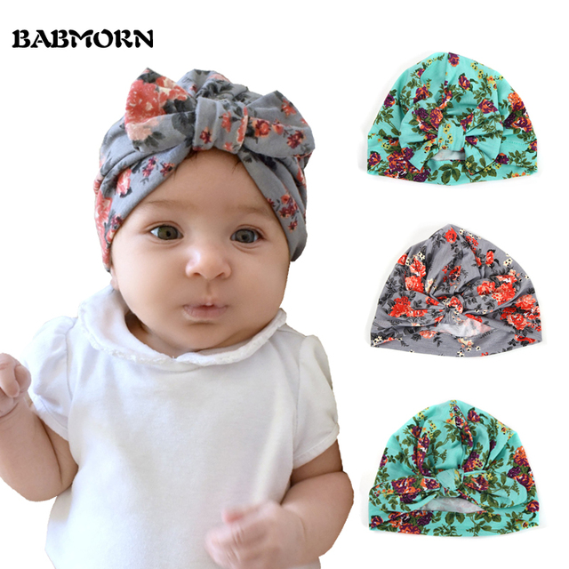 b2c79baf737 New Floral Print Baby Girl Hat with Bow Cotton Bohemia Turban Toddler  Infant Beanie Baby Cap Hats Accessories 1 PC