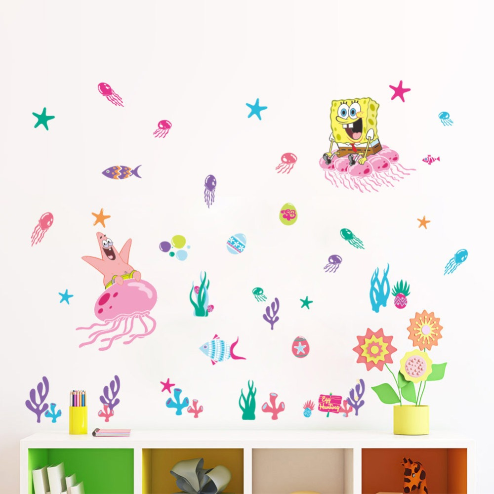 Animals Zoo Cartoon SpongeBob SquarePants Underwater World - Spongebob room decals