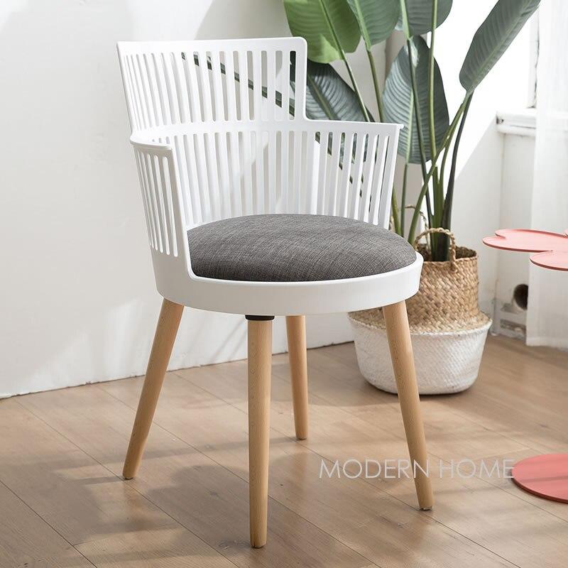 Modernes Design Kunststoff Und Solide Holz Gepolsterten Dining Side Stuhl,  Polster Soft Cover Freizeit Stuhl