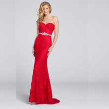 Red African Evening Gowns Mermaid Long Lace Prom Dress Beaded Sashes Stunning Evening Gown Elegant Cheap Vestido Longo Vermelho