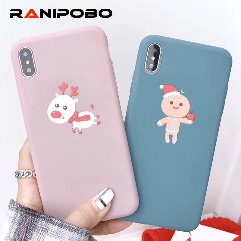 Christmas Phone Case Iphone 7.Us 0 69 20 Off Candy Color Christmas Phone Case For Iphone X Xs Xr Xs Max 6 6s 7 8 Plus Full Body Soft Tpu Blue Pink Back Cover Cases Gift In