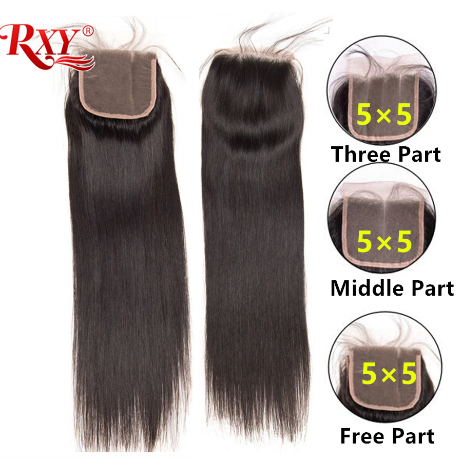 RXY Peruvian Straight Lace Closure 5x5 Swiss Lace Remy Human Hair Closure Pre Plucked With Baby Hair Natural Black Color 8