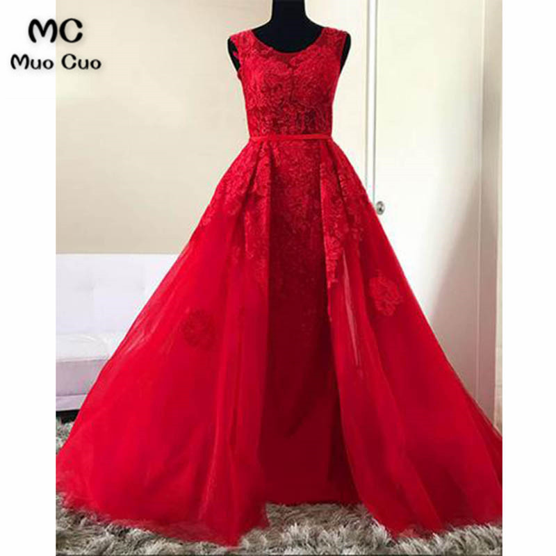 2018 Red A Line Halter Senior Prom Dress Long Tulle O Neck