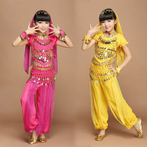 Child Girls Yellow Red Rose Red Oriental Dancing Belly Dance Wear Children's India Dance Performance Clothing